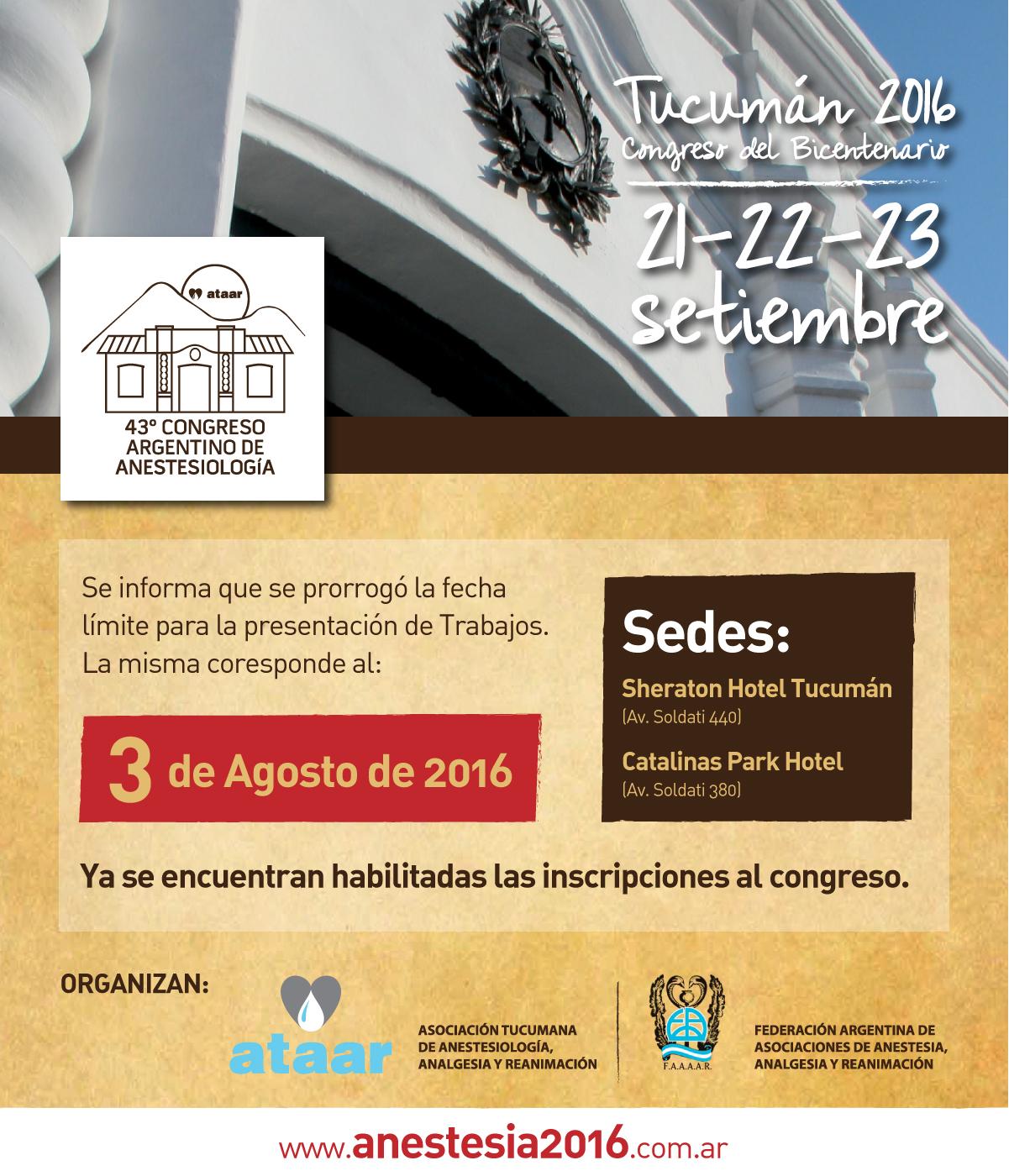 43º Congreso Argentino de Anestesiología – Ministerio de Salud ...